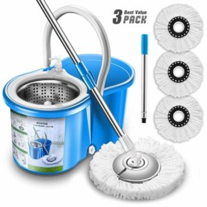 Aootek Upgraded Stainless Steel Deluxe Mop - Mop and Bucket for ceramic tile floors